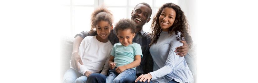 Portrait of happy large African American family at home