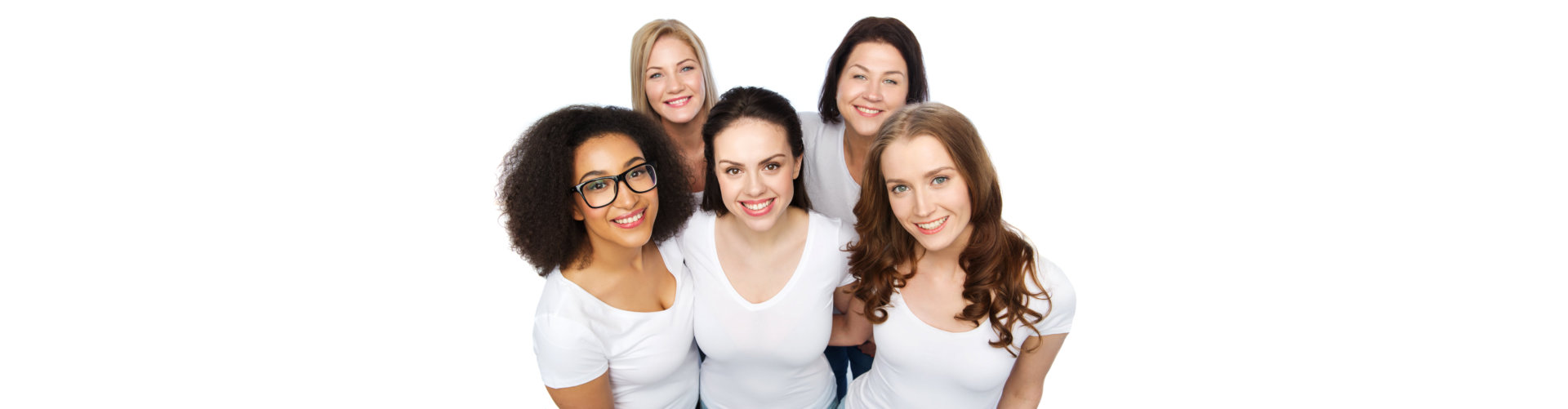 Group of happy different women in white t-shirts. Copy, people.